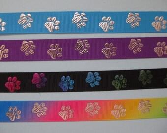 "Paw Print Dog Collar Grosgrain Ribbon 5/8"" 16mm"