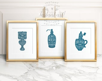 Bathroom PRINTABLES set of 3:flush the toilet,wash your hands,brush your teeth blue bathroom decor,printable decor,bathroom art