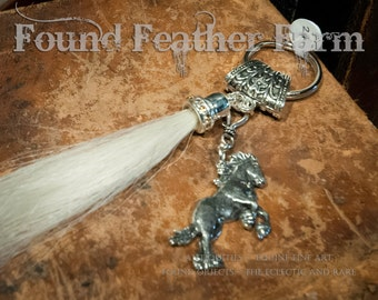 Long White Horsehair Tassle with Pewter Rearing Horse Charm and Jewels