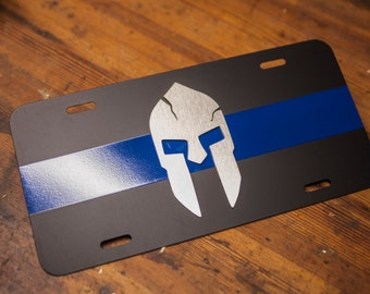 Spartan Thin Blue Line License Plate - Steel - Stainless Steel - Powder Coated