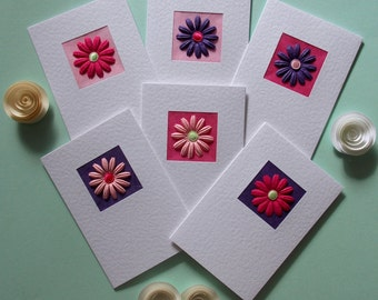 Note cards, set of 6 notelets, pack of cards, pink & purple mulberry paper flowers, gerberas, gift for her, blank cards, recycled envelopes