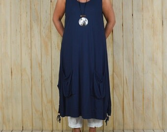Ladies Lagenlook Plus Size Tunic Dress Boho Quirky UK 14 16 18 20 22 24 26/US 12 14 16 18 20 22 24 Navy Blue XL Q41