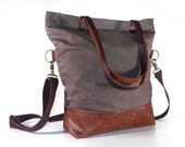 waxed canvas tote,Grey Tote, Leather Bottom Bag/ Leather Handles/Canvas and Leather Tote/Waterproof bag/Diaper Bag