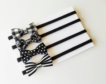 SALE! Baby Headbands   Small Bows   Baby Bows   Nylon Headbands   Baby Headband Set   Black and White   Monochrome Bows    itty bitty bows