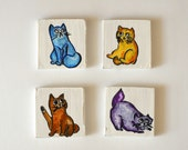 Cat Magnets , Hand-painted ,  Fridge Magnet , Wooden Magnets , Dishwasher magnet , Wood magnets , Set of 4 , wood painting ,  recycled wood