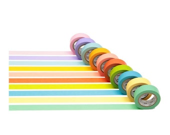 NEW MT Washi Masking Tapes Set of 10 Bright Colors F/S Japan Imoprt