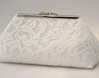 Small White Lace Summer Purse Clutch  ~ Flower Girl Wedding Purse