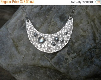 Valentines Sale Moon with Rainbow Moonstone Pendant in Silver