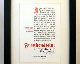 Frankenstein - A5 Letterpress Typographic Print