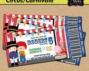Ticket Circus Party Birthday Invitation-Circus-Circus Party-Carnival Party-Carnival Invitations-Carnival Party Invitations-Clown Invitations