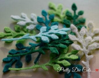 Felt Foliage, Small Felt Leaf, Decorative Green Leaves, Die Cut Craft Embellishment