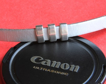 3/4 MADE in EUROPE 4 zamak slider bars, 10mm flat cord slider bars, 10mm leather cord simple sliders, zamak sliders (ABLZ65S) Qty4