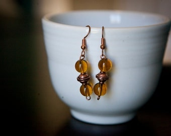 Yellow and copper bead earrings