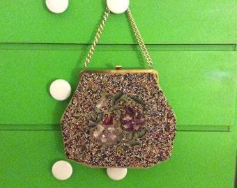VTG 70's Abstract Floral Beaded Handbag w/ Mirror
