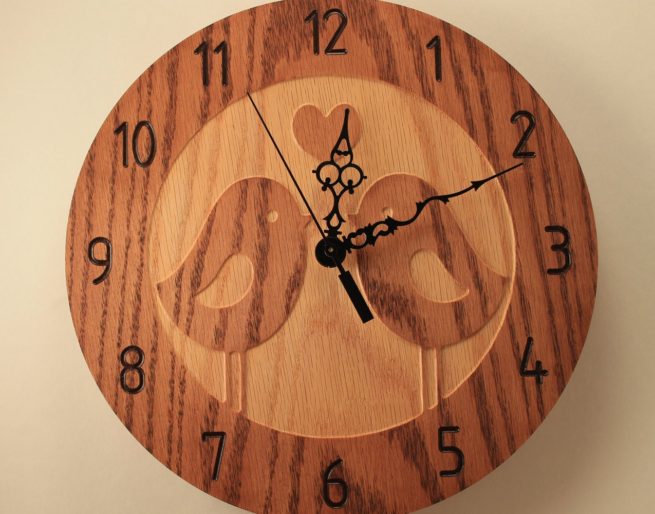 Oak Love Birds Clock Animal Clock Nature Clock Wildlife Clock