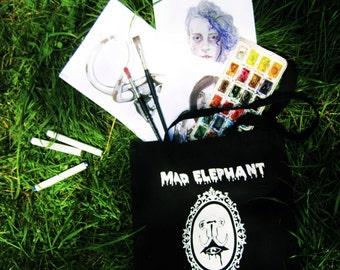 Black shoulder bag 100% cotton Madelephantshop logo urban handbag