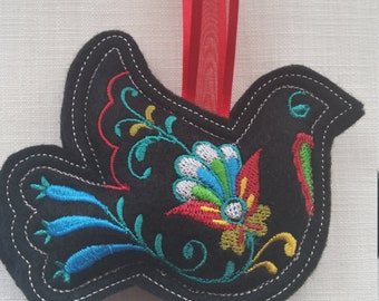 X001B   Black  Dove Christmas ornament