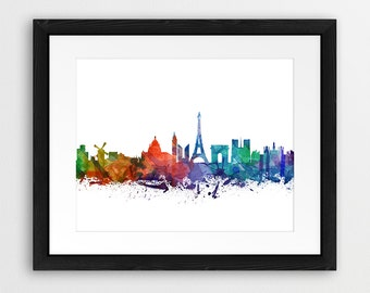 Paris Skyline Printable Art, Paris France Cityscape Watercolor Blue Green Orange, Travel, Modern Wall Art, Home Office Decor, Digital Print
