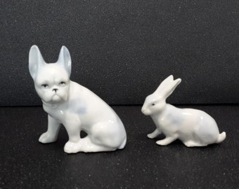 antique french porcelain rabbit and dog, porcelain figurines