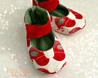 Christmas Doves Baby Shoes - Baby Girl Shoes - Baby Christmas Shoes - Baby's 1st Christmas - Birds - Holiday Shoes - Baby Holiday Gift