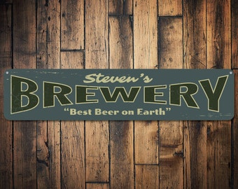 Brewery Sign, Personalized Best Beer On Earth Sign, Custom Home Bar Sign, Bar Name Sign, Metal Beer Decor - Quality Aluminum ENS1001371