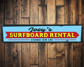 Surfboard Rental Sign, Personalized Surf Shop Arrow Sign, Custom Surfboarder Name Sign, Metal Beach House Sign - Quality Aluminum ENS1001643