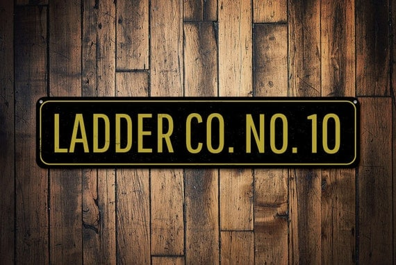 Firefighter Man Cave Signs : Ladder company number sign personalized fire station decor