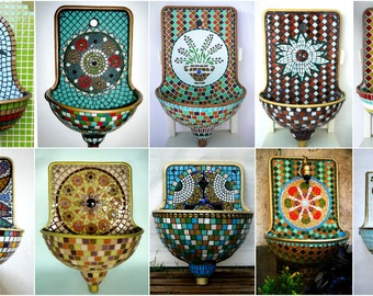Mosaic design wall fountains, garden fountains