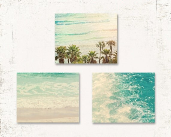beach wall art set set of three prints or canvases beach. Black Bedroom Furniture Sets. Home Design Ideas