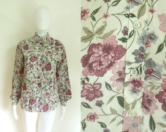 40%offAug18-21 80s floral blouse size medium, blended linen top, womens button down shirt, pink  green, flower print, preppy, 1980s, woven