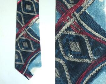 abstract tie, silk tie, evan picone tie, designer retro mod, blue red white, 70s 1970s tie, mens tie, mens necktie, mad men