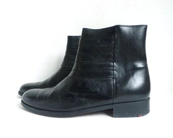 mens beatle boots size 8D, black leather boots, 70s chelsea boots mens 8, mens boots, 1970s mens shoes