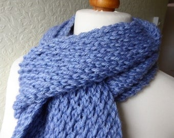 Chunky sky blue hand knitted scarf in an acrylic and alpaca mix yarn