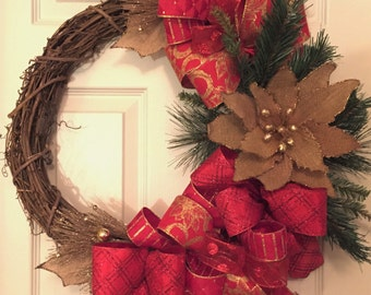 Red and Gold Burlap Poinsettia Grapevine Wreath; Holiday Wreath; Christmas Wreath; Christmas Decor; Holiday Decor; Handmade Wreath