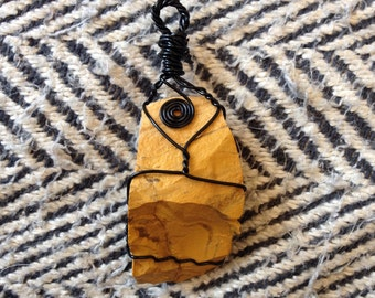 Wire Wrapped Yellow Jasper Necklace