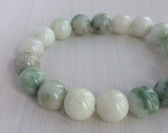 CLEARANCE 40% OFF - 10mm Serpentine/New Jade Beaded Stretch Bracelet, Gemstone Beaded Bracelet