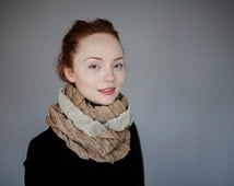 Two colours infinity scarf _Yellow white scarf_Handmade scarf_Wool linen scarf_Soft scarf_Original scarf _Warm and cool scarf_Made by Vilnys