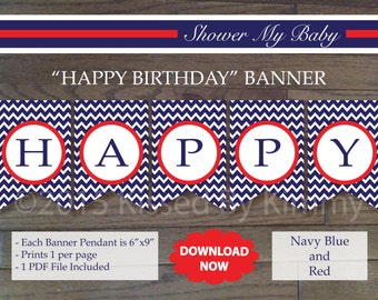 Red & Navy HAPPY BIRTHDAY Banner - Printable Nautical Birthday Banner- Navy Blue Red White - Chevron Party Decor - Nautical Birthday 12-2