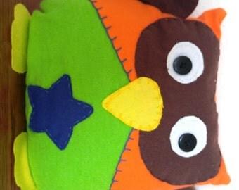 Star Owl Plushie: Orange, Brown & Green