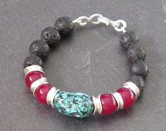 Sterling silver gemstone bracelet. Turquoise bracelet. Red jade bracelet. Black lava bracelet. Gift for her. Silver bracelet. Handmade