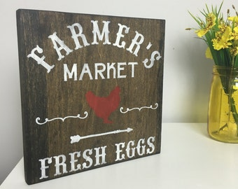 Farmer's Market Sign-- Farmhouse Sign-- Farm Sign-- Rustic Sign-- Fresh Eggs Sign-- Rooster Sign --Rustic Decor