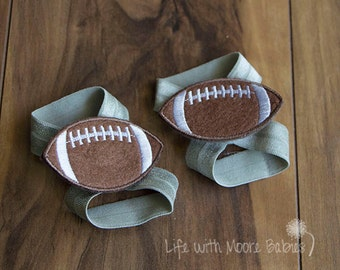 Baby Barefoot Sandal Football Patches, Football Barefoot Baby Sandals, Silver Baby Football Shoe, Baby Gift, Cowboys, Buccaneers, Lions