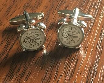 Alarm Clock Silver Cufflinks, Clocks cufflinks