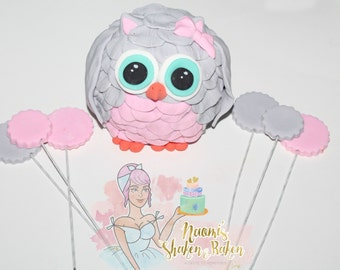 1x Edible Owl Girl / Boy Cake Topper Set