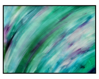 Theatre Original Abstract Art A3 Painting Green Blue Purple White Contemporary Concept Artwork Robert McConvey