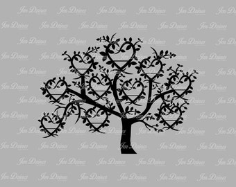 Family Tree 10 Names SVG DXF EPS, family tree files, family tree design, tree svg, family tree, cutting file for cricut silhouette, svg file