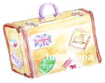 Clip art, luggage,  bag, summer, travel, vacation, watercolor, digital download, instant download, wall art, printable clipart