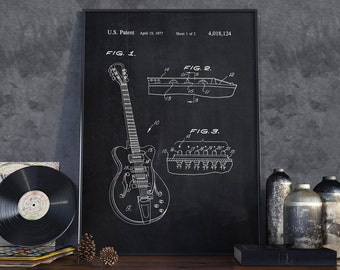 Electric Guitar Patent, Guitar Poster, Music Poster, Home Decor, Music Hobbie, Patent Poster - DA0050