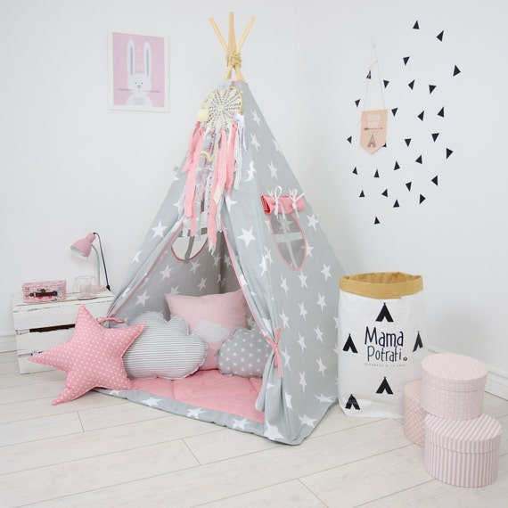 jouer tipi pour les enfants poudre rose tipi tipi gris. Black Bedroom Furniture Sets. Home Design Ideas