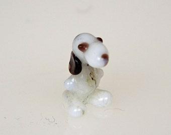 Vintage Small Glass Dog - Tiny Dog - Glass Dog  Figurine - Blown Glass - White Black Brown - Glass Animal Figure - Small Glass Animal